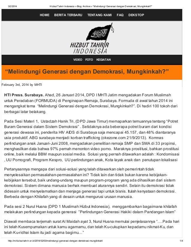 """3/2/2014  Hizbut Tahrir Indonesia » Blog Archive » """"Melindungi Generasi dengan Demokrasi, Mungkinkah?""""  HOME  BERITA TERBA..."""