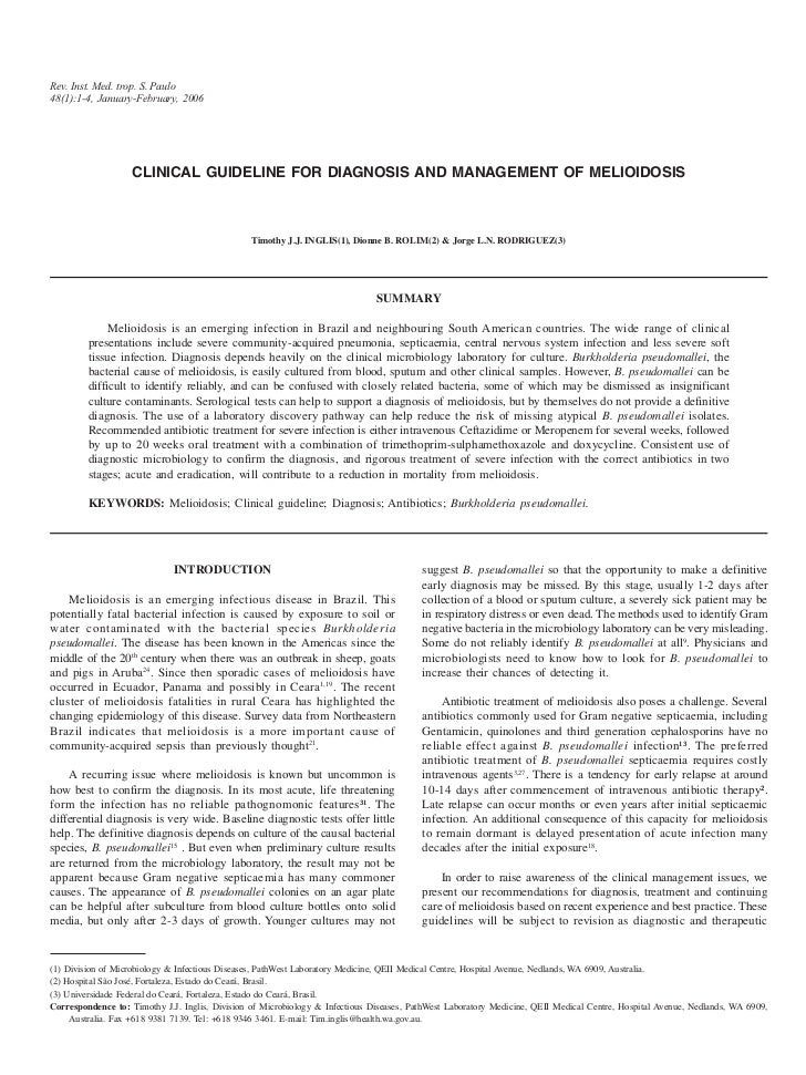 Rev. Inst. Med. trop. S. Paulo48(1):1-4, January-February, 2006                   CLINICAL GUIDELINE FOR DIAGNOSIS AND MAN...