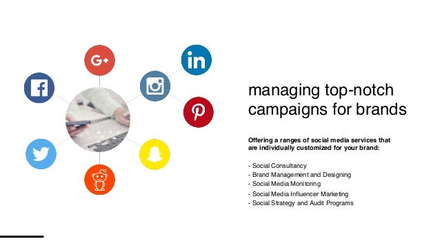 managing top-notch campaigns for brands Offering a ranges of social media services that are individually customized for yo...