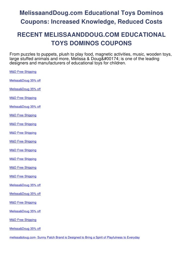 MelissaandDoug.com Educational Toys Dominos       Coupons: Increased Knowledge, Reduced Costs     RECENT MELISSAANDDOUG.CO...
