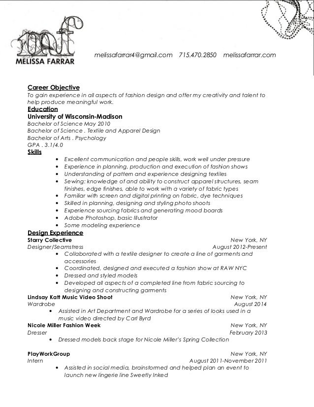 Alterations Seamstress Resume sample resume for tailoring job job – Seamstress Resume Sample