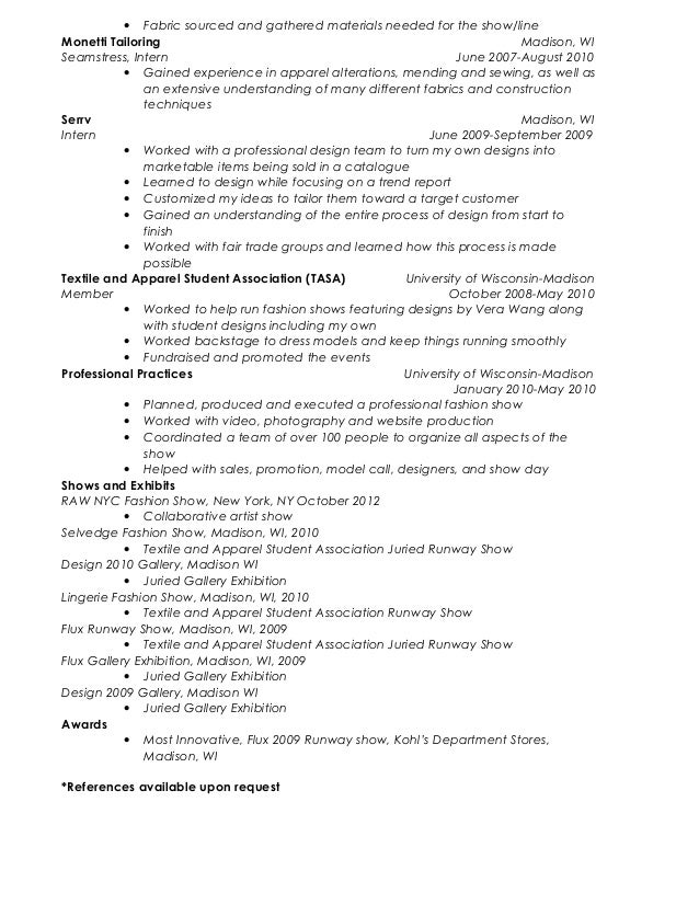 melissa farrar resume seamstress resume - Seamstress Resume
