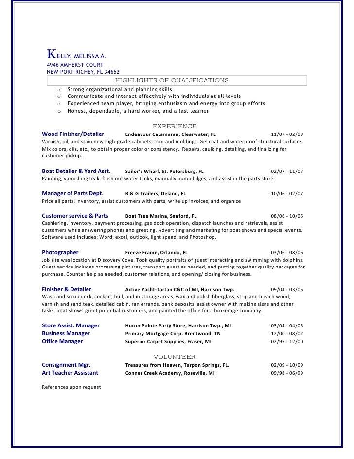 ΚELLY, MELISSA A.   4946 AMHERST COURT   NEW PORT RICHEY, FL 34652                                 HIGHLIGHTS OF QUALIFICA...