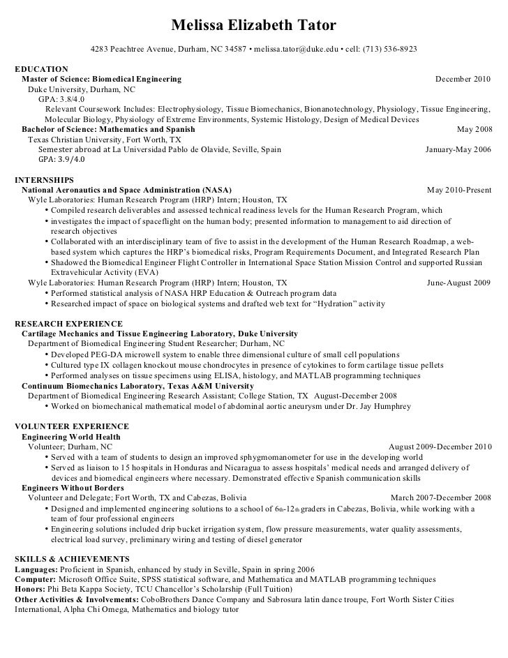 masters resume engineering research - Resume Biomedical Science