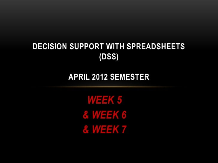 DECISION SUPPORT WITH SPREADSHEETS               (DSS)        APRIL 2012 SEMESTER            WEEK 5           & WEEK 6    ...