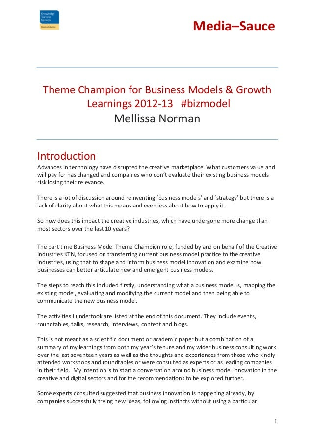 Media–Sauce  Theme Champion for Business Models & Growth Learnings 2012-13 #bizmodel  Mellissa Norman Introduction Advance...