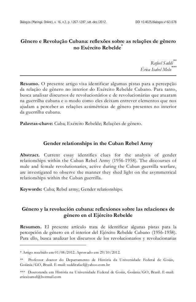 Diálogos (Maringá. Online), v. 16, n.3, p. 1267-1287, set.-dez./2012. DOI 10.4025/dialogos.v16i3.678 Gênero e Revolução Cu...