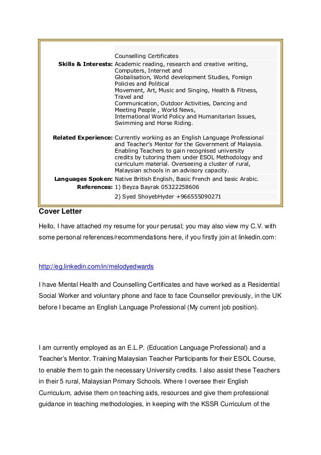 Melody Resume And Cover Letter 1 St Feb 2013