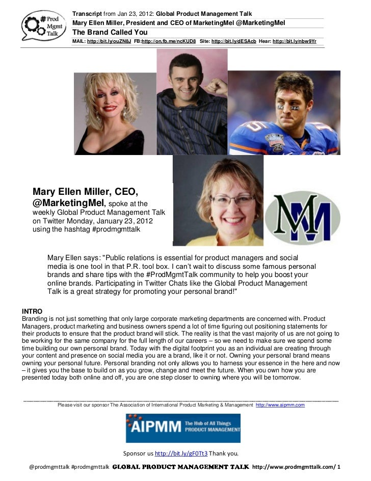 Transcript from Jan 23, 2012: Global Product Management Talk                   Mary Ellen Miller, President and CEO of Mar...