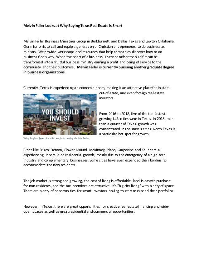 Melvin Feller Looks at Why Buying Texas Real Estate is Smart Melvin Feller Business Ministries Group in Burkburnett and Da...