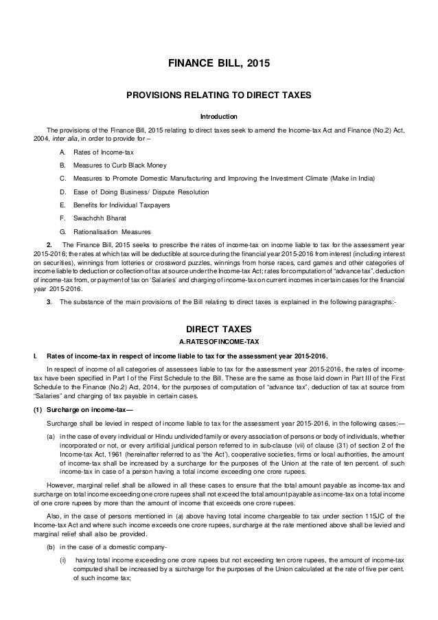 FINANCE BILL, 2015 PROVISIONS RELATING TO DIRECT TAXES Introduction The provisions of the Finance Bill, 2015 relating to d...