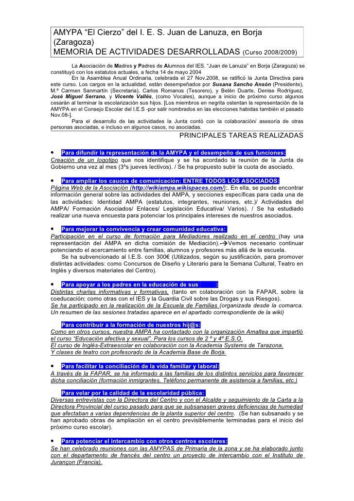 """AMYPA """"El Cierzo"""" del I. E. S. Juan de Lanuza, en Borja  (Zaragoza)  MEMORIA DE ACTIVIDADES DESARROLLADAS (Curso 2008/2009..."""