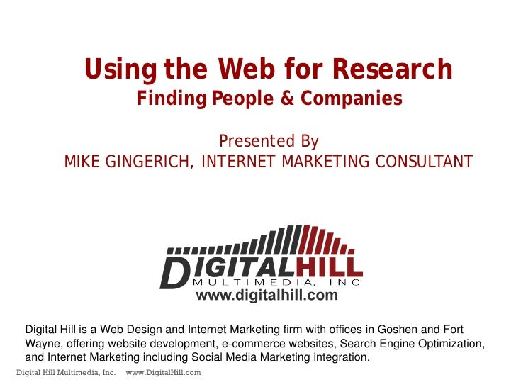Using the Web for Research                                   Finding People & Companies                                 Pr...