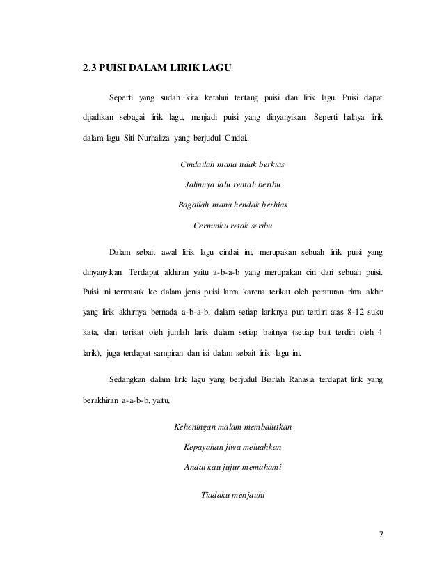 Memahami Puisi Dalam Lirik Lagu Siti Nurhaliza
