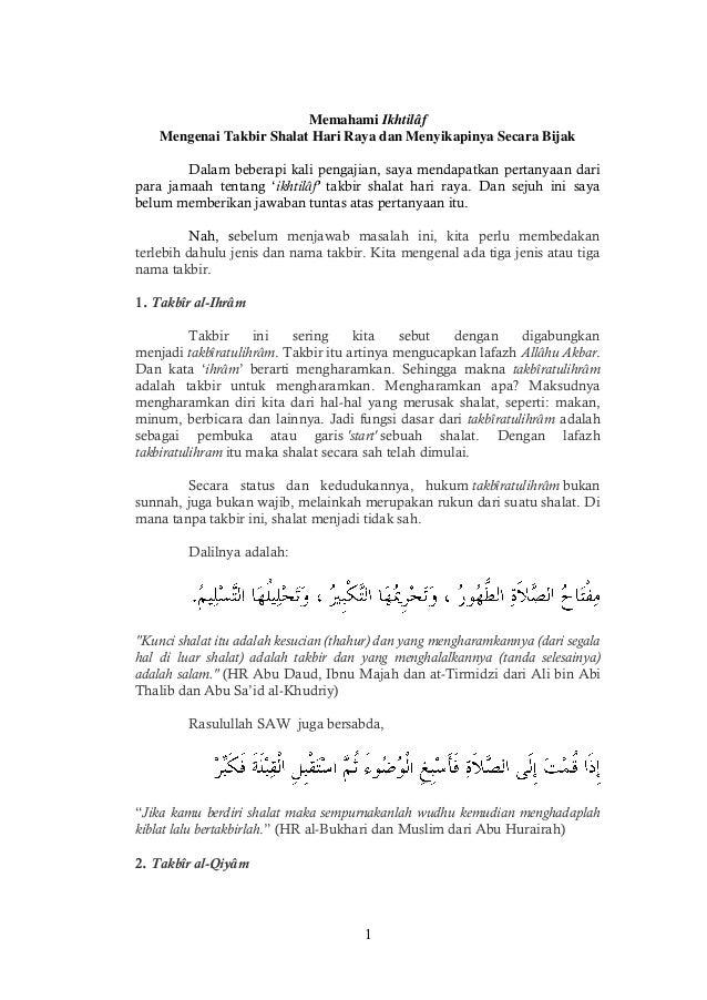 1 Memahami Ikhtilâf Mengenai Takbir Shalat Hari Raya dan Menyikapinya Secara Bijak Dalam beberapi kali pengajian, saya men...