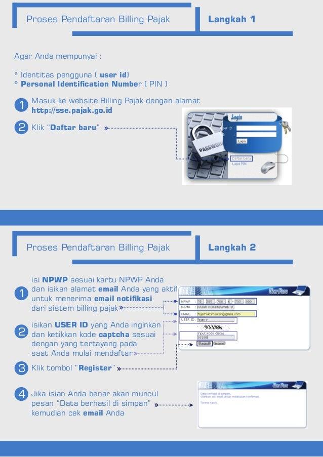 Proses Pendaftaran Billing Pajak Langkah 1 Proses Pendaftaran Billing Pajak Langkah 2 Masuk ke website Billing Pajak denga...