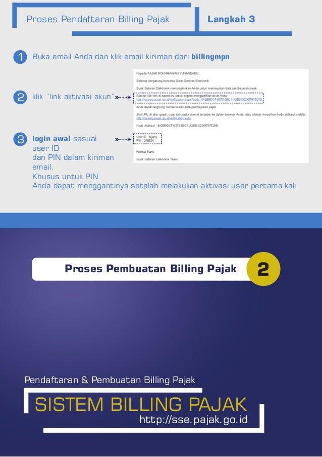 """Proses Pendaftaran Billing Pajak Langkah 3 Buka email Anda dan klik email kiriman dari billingmpn1 2 3 klik """"link aktivasi..."""