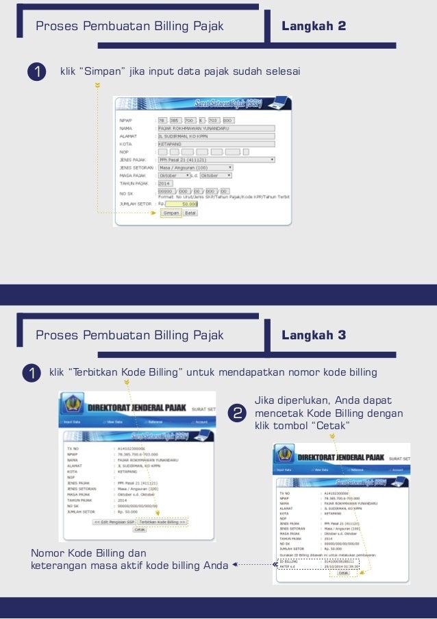"""Proses Pembuatan Billing Pajak Langkah 2 Proses Pembuatan Billing Pajak Langkah 3 1 2 klik """"Terbitkan Kode Billing"""" untuk ..."""