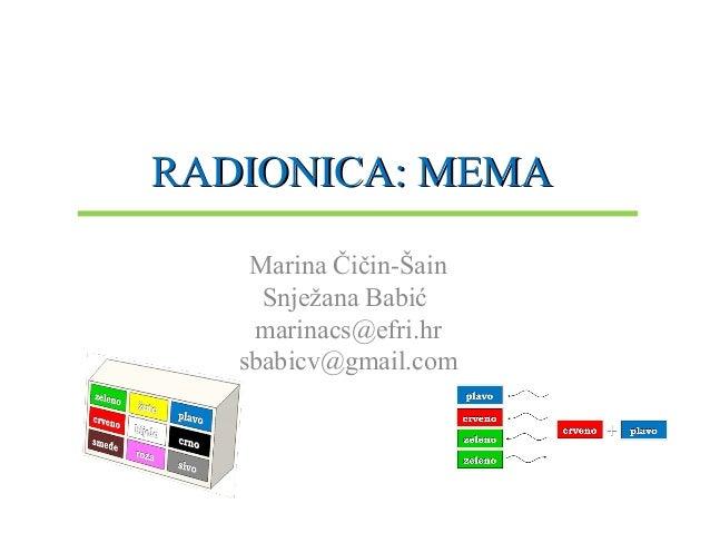 RADIONICA: MEMARADIONICA: MEMA Marina Čičin-Šain Snježana Babić marinacs@efri.hr sbabicv@gmail.com