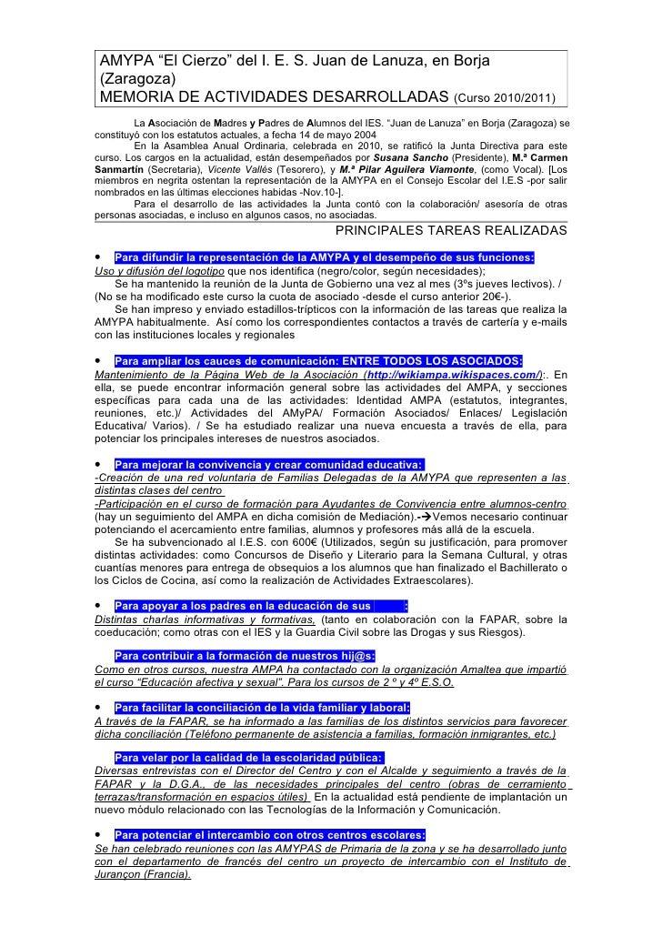 Memoria de Actividades 2010-11