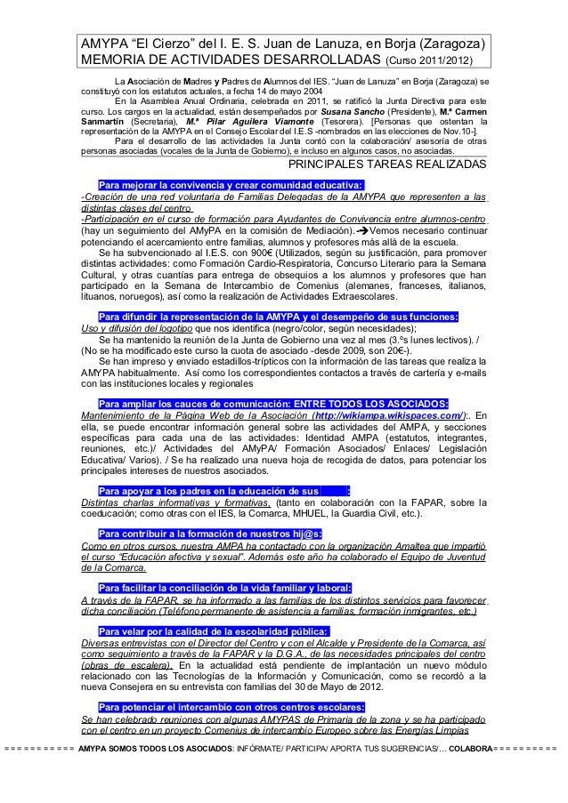 """AMYPA """"El Cierzo"""" del I. E. S. Juan de Lanuza, en Borja (Zaragoza)                  MEMORIA DE ACTIVIDADES DESARROLLADAS (..."""