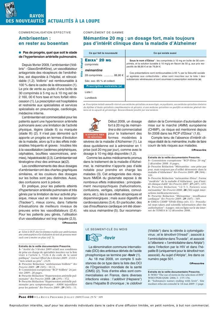 Memantine 20mg prescrire