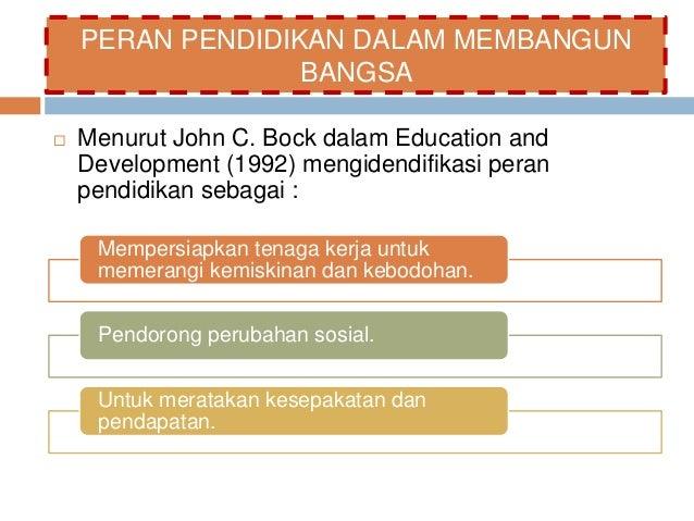 PERAN PENDIDIKAN DALAM MEMBANGUN  BANGSA   Menurut John C. Bock dalam Education and  Development (1992) mengidendifikasi ...