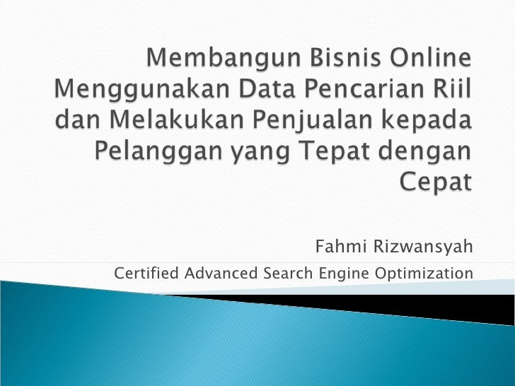 Fahmi Rizwansyah Certified Advanced Search Engine Optimization