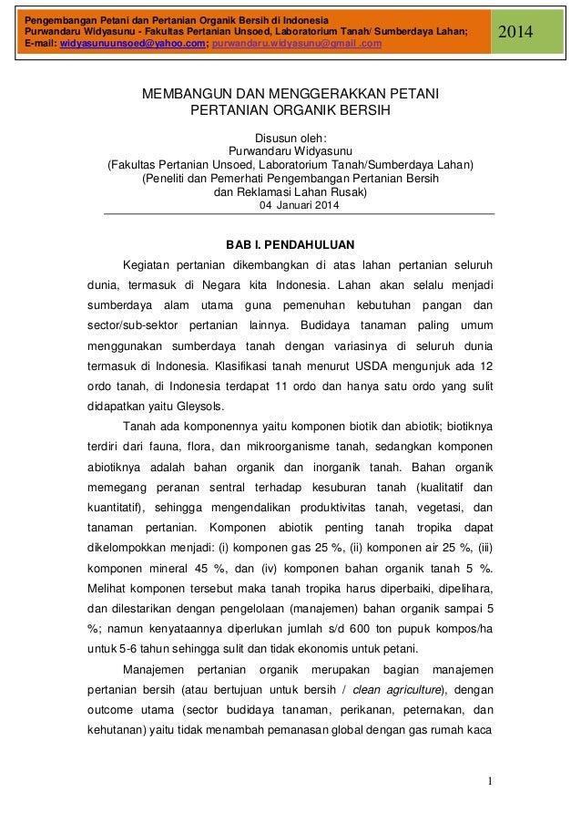 Pengembangan Petani dan Pertanian Organik Bersih di Indonesia Purwandaru Widyasunu - Fakultas Pertanian Unsoed, Laboratori...