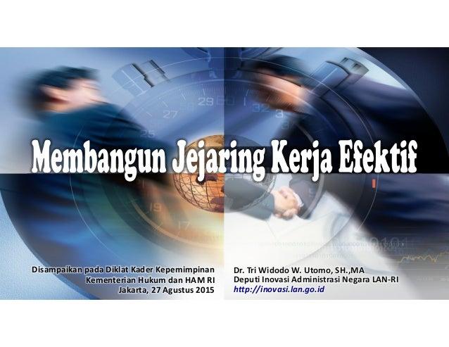 Disampaikan pada Diklat Kader Kepemimpinan Kementerian Hukum dan HAM RI Jakarta, 27 Agustus 2015 Dr. Tri Widodo W. Utomo, ...