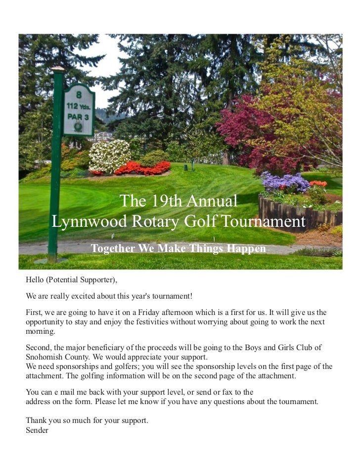 The 19th Annual        Lynnwood Rotary Golf Tournament                    Together We Make Things HappenHello (Potential S...