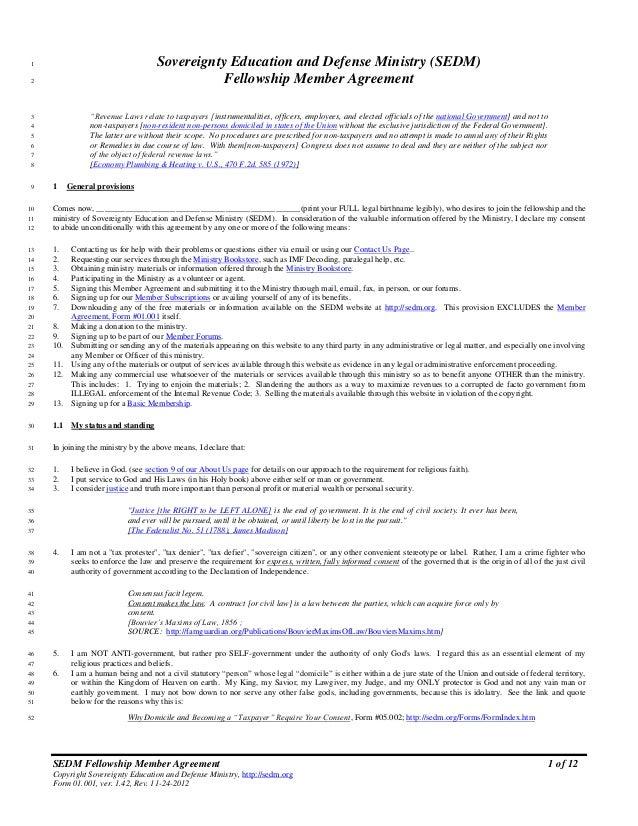 Member Agreement Form 01001