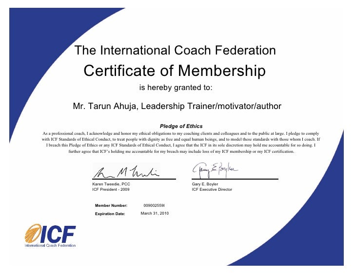 The International Coach Federation Certificate ...  Life Membership Certificate Template