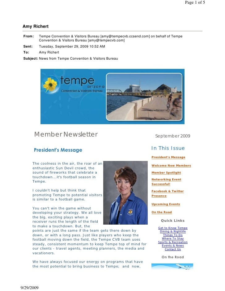 Member Newsletter                                               September 2009        President's Message                ...