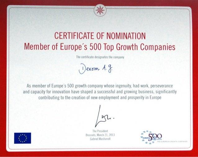 DEKOM Award Member of Europes 500 Top Growth Companies