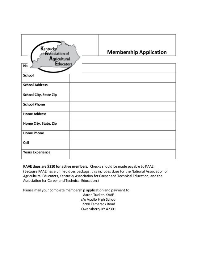 Membership Application Name School School Address School City, State Zip School Phone Home Address Home City, State, Zip H...