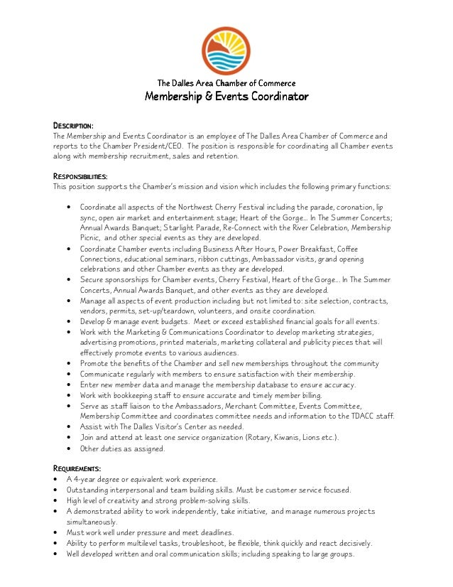 Membership  Events Coordinator Job Description
