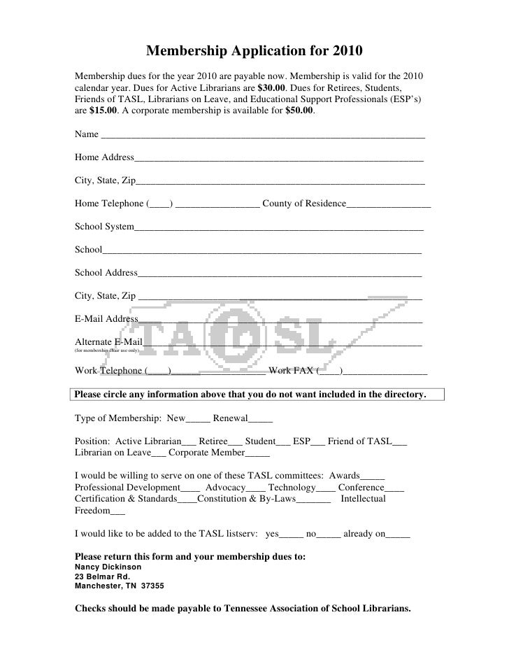 Membership Application for 2010 Membership dues for the year 2010 are payable now. Membership is valid for the 2010 calend...