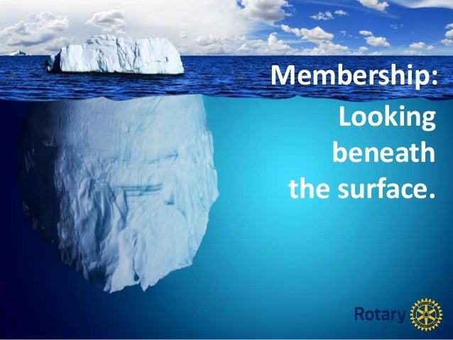 Looking beneath the surface. Membership: