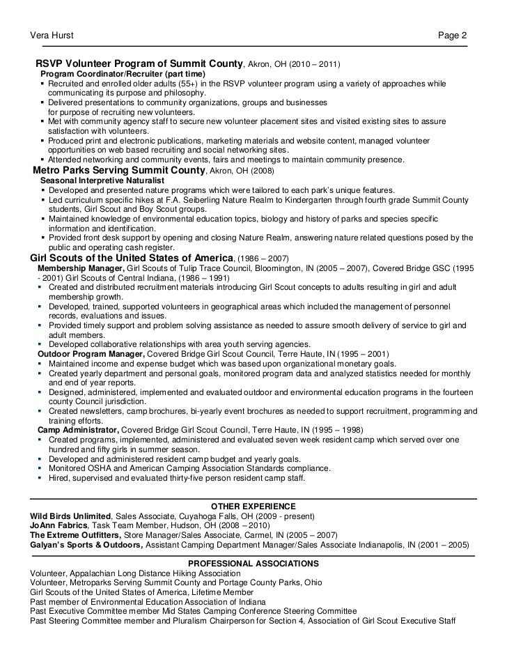 Vera Hurst Page 2 RSVP Volunteer Program Of Summit County, Akron, OH (2010  U2013 2011) Program Coordinator/Recruiter (part Time)  Recruited And Enrolled  Older ...  Recruiting Coordinator Resume