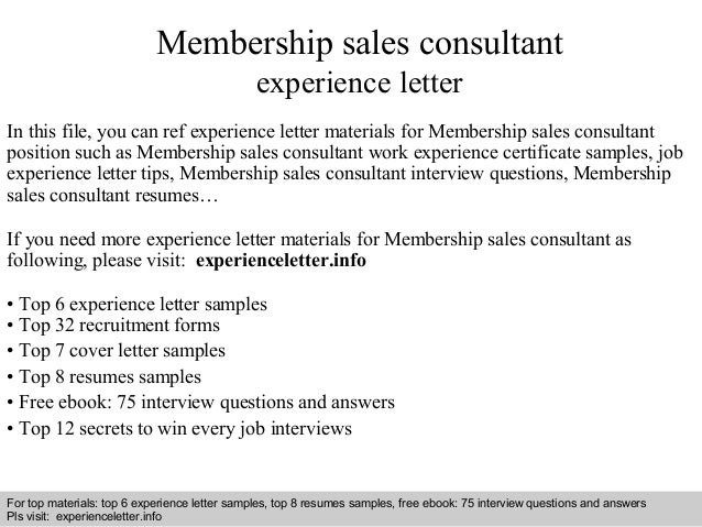 Membership sales consultant experience letter