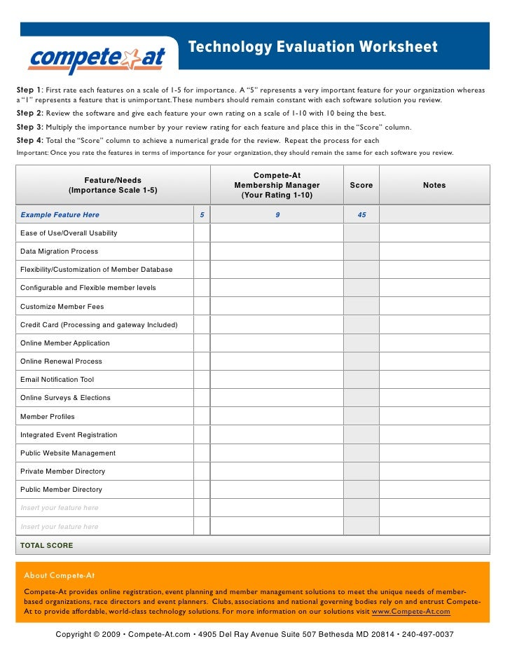 Membership Software Evaluation Brief 5 Things to Consider – Evaluation and Management Worksheet