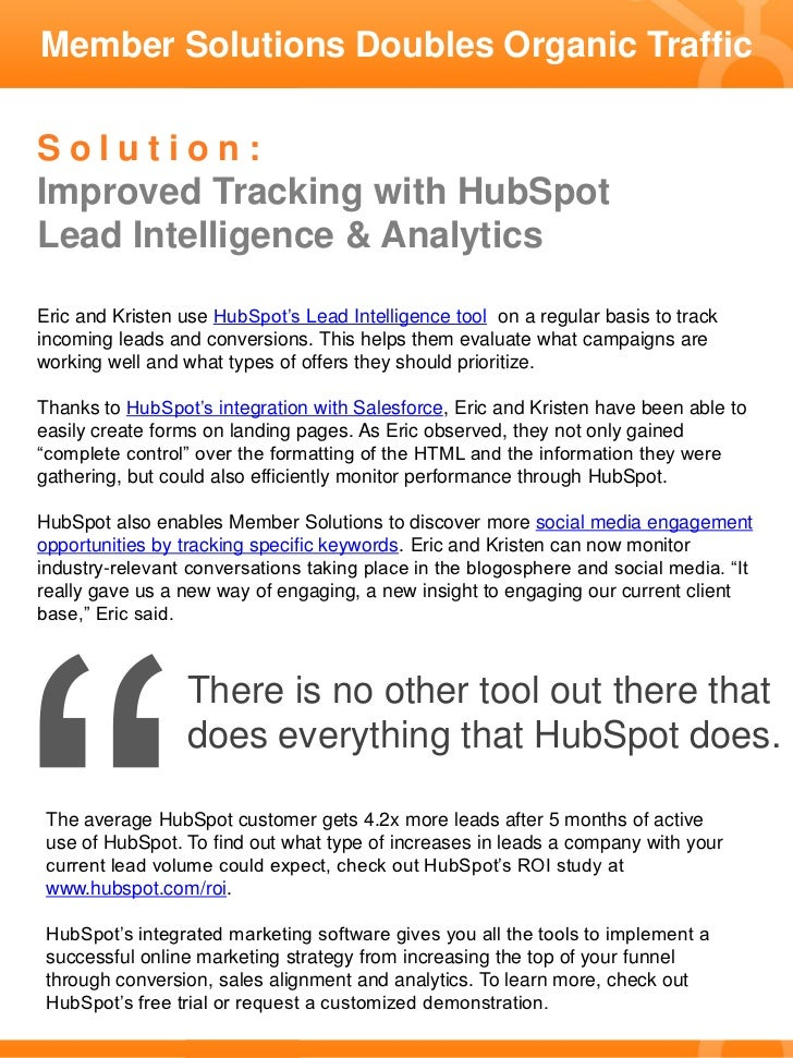 Member Solutions Doubles Organic Traffic with HubSpot Slide 2