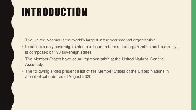 MEMBER STATES OF THE UNITED NATIONS 2020  Slide 3
