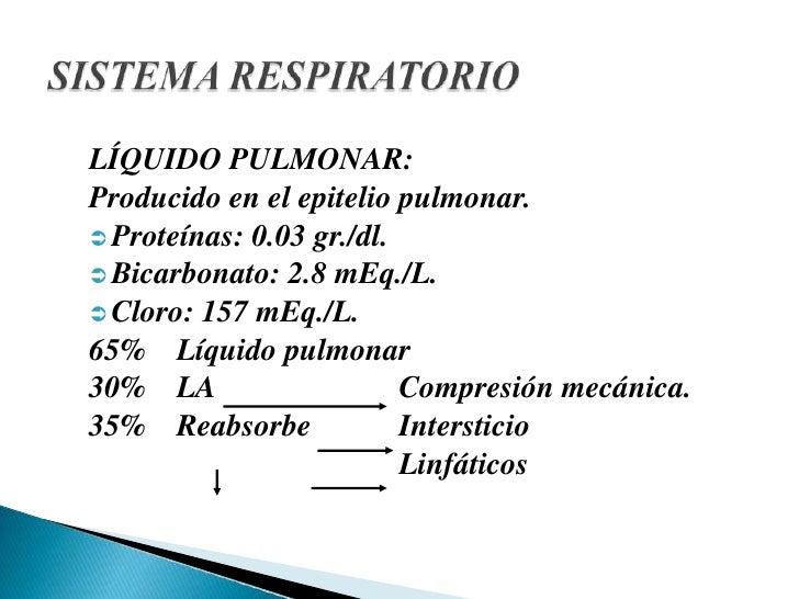 LÍQUIDO PULMONAR:<br />Producido en el epitelio pulmonar.<br /><ul><li>Proteínas: 0.03 gr./dl.