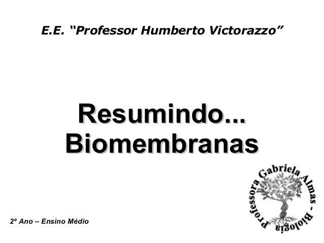 """E.E. """"Professor Humberto Victorazzo"""" Resumindo...Resumindo... BiomembranasBiomembranas 2º Ano – Ensino Médio"""
