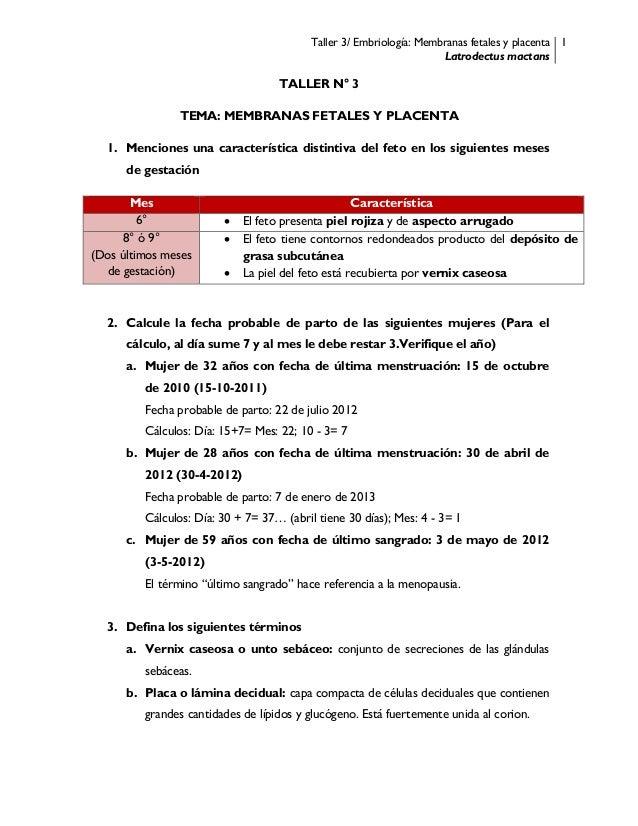 Taller 3/ Embriología: Membranas fetales y placenta Latrodectus mactans 1 TALLER N° 3 TEMA: MEMBRANAS FETALES Y PLACENTA 1...