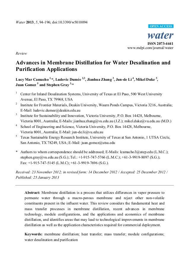 Water 2013, 5, 94-196; doi:10.3390/w5010094 water ISSN 2073-4441 www.mdpi.com/journal/water Review Advances in Membrane Di...