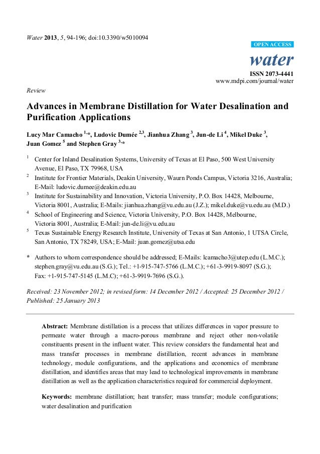 Water 2013, 5, 94-196; doi:10.3390/w5010094 water ISSN 2073-4441 www.mdpi.com/journal/water Review Advances in Membrane Di...