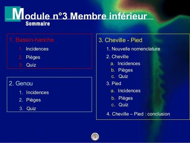 N°1GENERALITES Module n°3 Membre inférieur 1. Incidences 1. Bassin-hanche 1. Incidences 2. Genou 2. Pièges Sommaire 3. Che...